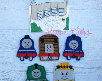 Thomas finger puppets and case embroidery design digital instant download
