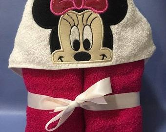 Minie Hooded Towel In the hoop design digital instant download