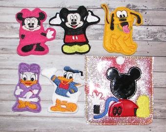 Diz finger puppets and case embroidery design digital instant download