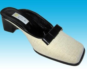 b900066ae2c Vntg UNWORN Mules 7.5 Shoes Free Shipping Cream Canvas w Black Bow Very  High End European Square Toe Very Cute