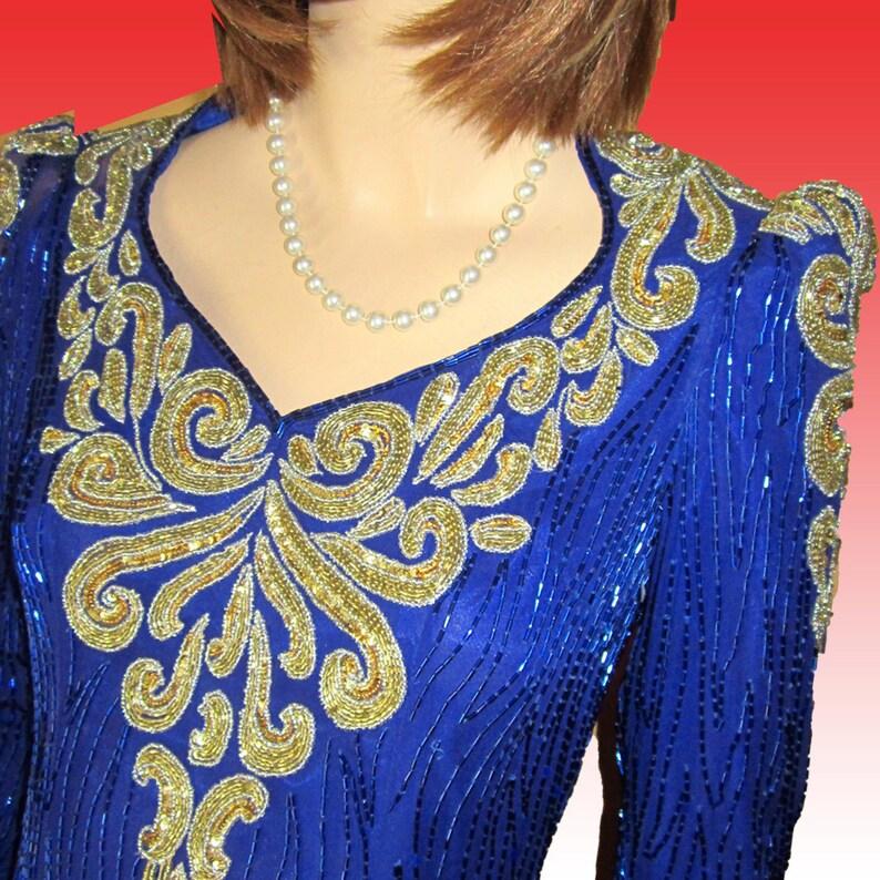 870d1b18d87a Vntg J REYNOLDS of Atlanta Original Hand-Beaded Sequin Gown | Etsy
