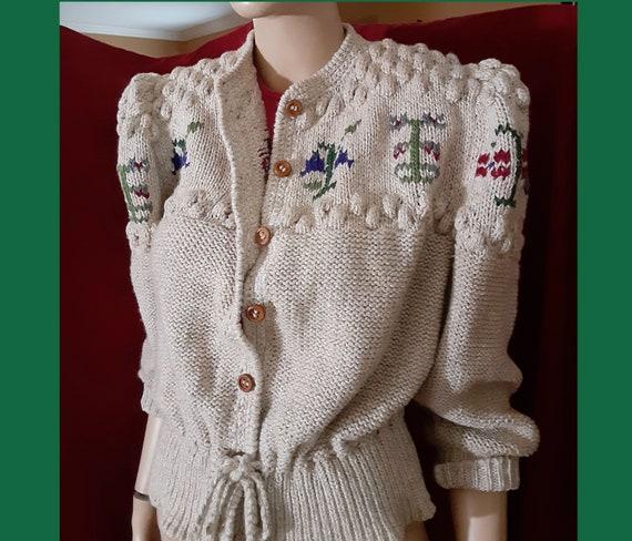 Vntg ITALIAN TYROL Trachten Cardigan Sweater 80s I