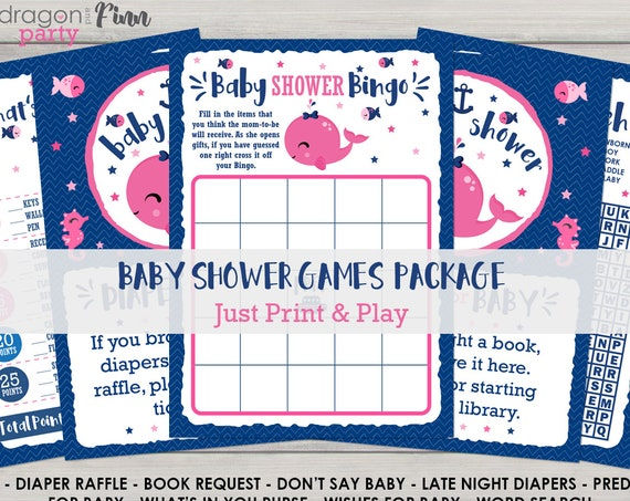 Pink Nautical Baby Shower Games Kit - 9 Different Games - Bingo, What's In Your Purse, Predictions for Baby, Late Night Diapers & More
