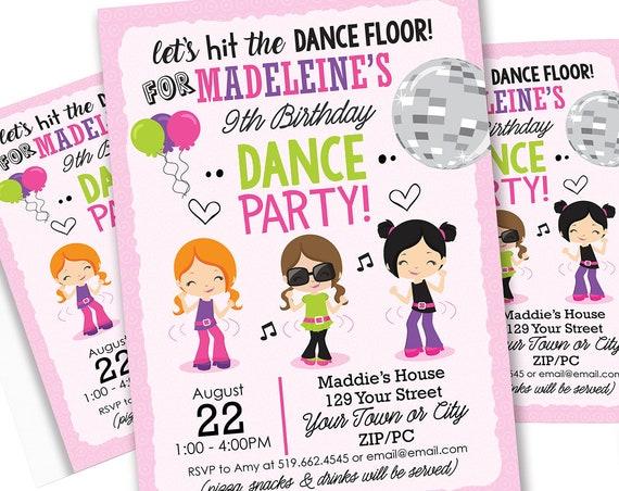 Dance Party Invitation - Retro Disco Birthday Invitation - Disco Dance Party - End of Year Party - Download & Personalize in Adobe Reader