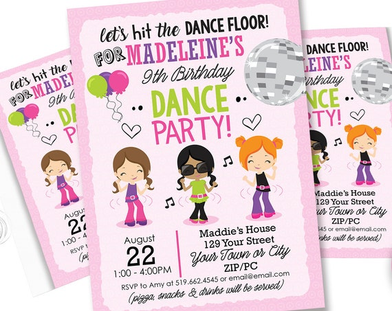 Disco Dance Party - Retro Disco Birthday Invitation - Dance Party Invitation - End of Year Party - Download & Personalize in Adobe Reader