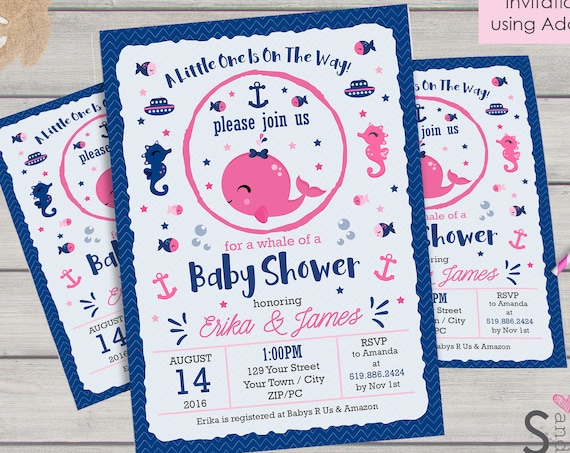Pink Nautical Baby Shower Invitation - Pink Whale Baby Shower Invitation - Instantly Download & Personalize in Adobe Reader at home