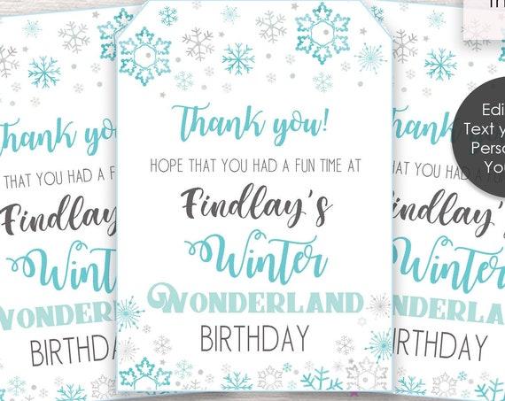 Winter Wonderland Birthday Thank You Tags - Winter Wonderland Thank You Tags - Favor Tags - Download & Personalize in Adobe Reader