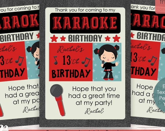 Girl Rock n Roll Thank You Card - Karaoke Thank You Card - Karaoke Birthday Party - Karaoke Party - Download and Personalize in Adobe Reader