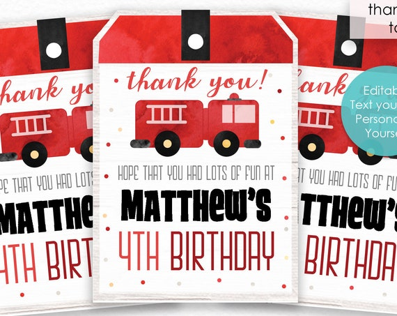 Firetruck Birthday Thank You Tags - Firetruck Thank You Tags - Firefighter Thank You Tags - Instantly Download & Personalize in Adobe Reader