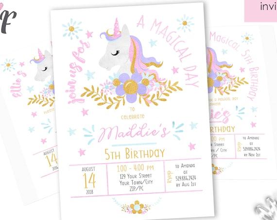 Unicorn Birthday Invitation - Magic Unicorn Invitation - Unicorn Birthday Party - Instantly Download & Personalize in Adobe Reader at home