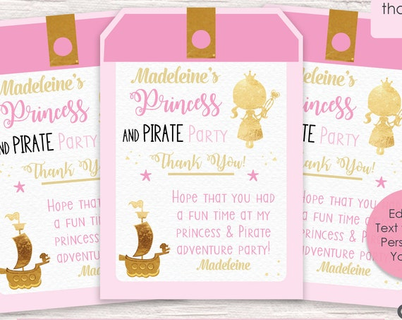 Pink and Gold Princess & Pirate Thank You Tag - Princess Thank You Tag - Pirate Princess  - Instant Download and Personalize in Adobe Reader