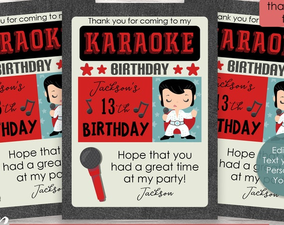 Karaoke Thank You Card - Rock and Roll Thank You Card - Karaoke Birthday Party - Karaoke Party - Download and Personalize in Adobe Reader