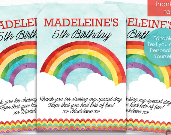 Rainbow Birthday Thank You Tags - Rainbow Thank You Tags - Rainbow Party Thank You - Instantly Download & Personalize in Adobe Reader
