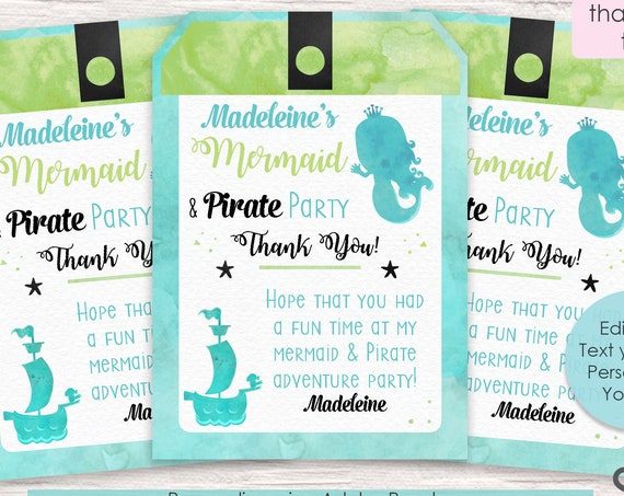 Mermaid & Pirate Thank You Tag - Mermaid Thank You Tag - Pirate and Mermaid Thank You Tag - Instant Download and Personalize in Adobe Reader