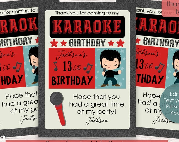 Rock and Roll Thank You Card - Karaoke Thank You Card - Karaoke Birthday Party - Karaoke Party - Download and Personalize in Adobe Reader