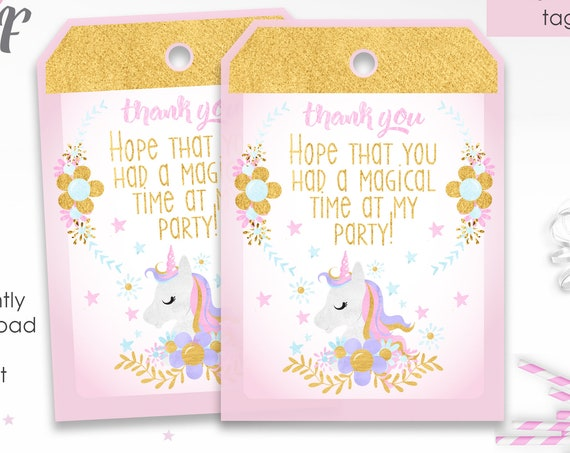 Unicorn Birthday Thank You Tags - Unicorn Thank You - Unicorn Party Thank You Tag - Instant Download - Just download & print