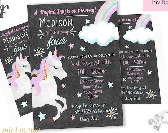 Magic Unicorn Invitation - Unicorn Birthday Invitation - Unicorn Birthday Party - Instantly Download & Personalize in Adobe Reader at home