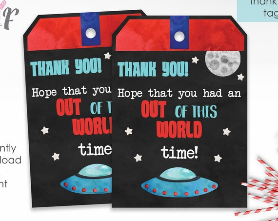 Space Birthday Thank You Tags - Space Thank You - Space Party Thank You Tag - Instant Download - Out of this World Birthday