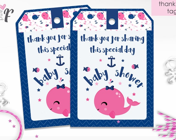 Pink Nautical Baby Shower Thank You Tags - Girl Baby Shower Thank You Tags - Pink Under the Sea - Instant Download - Just download & print