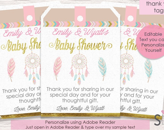 Tribal Baby Shower Thank You Tags - Dreamcatcher Thank You Tags - Tribal Thank You Tags - Instant Download & Personalize in Adobe Reader