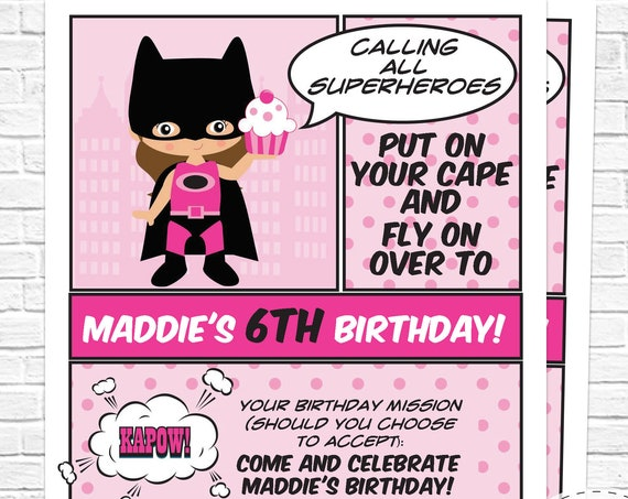 Pink Superhero Birthday Invitation- Printable Brown Hair Supergirl invitation- Pink Superhero party -Download & Personalize in Adobe Reader