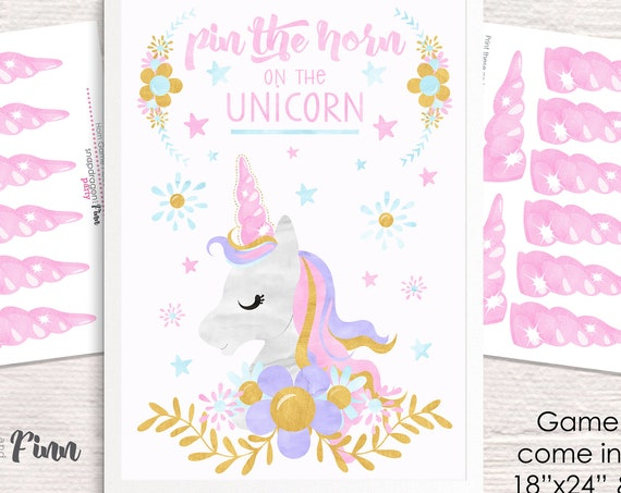 Pin the Horn on the Unicorn Printable Party Game - 3 Poster Sizes - Unicorn Birthday Party Game - Unicorn Party Game - Instant Download
