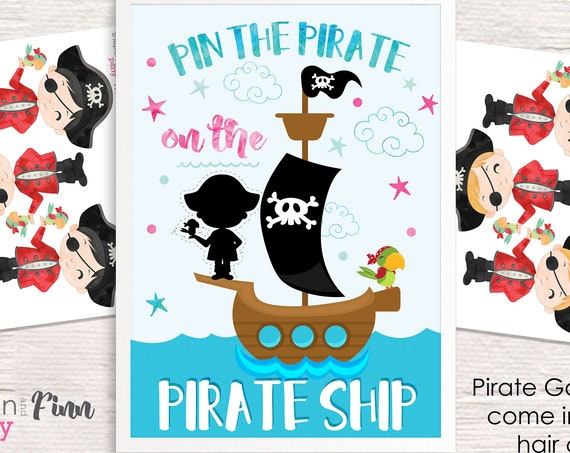 Pin the Pirate on the Pirate Ship Printable Party Game - 3 Poster Sizes - 5 Pirate Options - Pirate Birthday Party Game - Instant Download