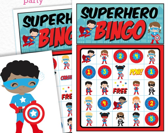 Superhero Bingo Printable Game - Printable Hero Birthday Party Game - Superhero Party Game - Hero Bingo Game - Instant Download