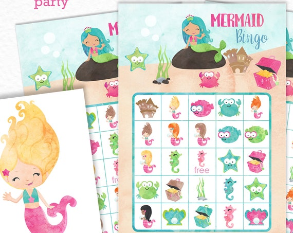 Mermaid Bingo Printable Game - Printable Mermaid Birthday Party Game - Under the Sea Party Game - Summer Bingo Game - Instant Download