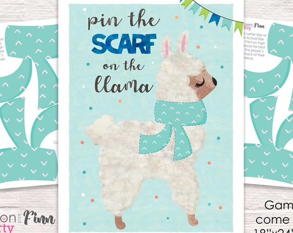 Blue Pin the Scarf on the Llama Printable Party Game - 3 Poster Sizes - Llama Birthday Party Game - Fiesta Party Game - Instant Download