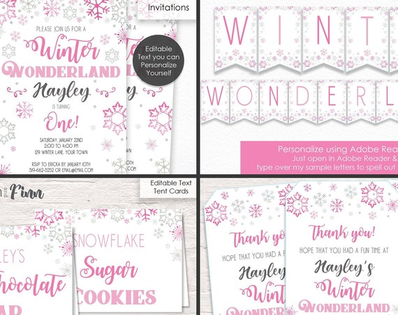Pink Winter Wonderland Invitation, Activities & Decorations kit - Pink Winter Wonderland Birthday - Download and Personalize in Adobe Reader