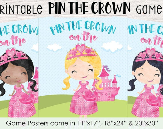 Pin the Crown on the Princess Printable Party Game - 3 Poster Sizes - 5 Princess Options - Princess Birthday Party Game - Instant Download