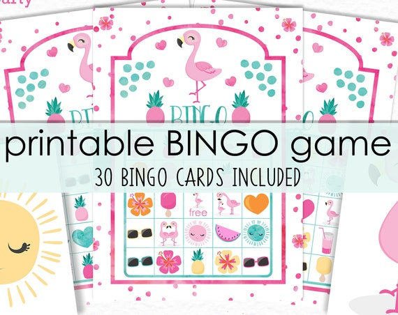 Flamingo Bingo Printable Game - Printable Flamingo Birthday Party Game - Flamingo Party Game - Summer Bingo Game - Instant Download