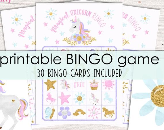 Unicorn Bingo Printable Party Game - 30 Bingo Cards - Unicorn Birthday Party Game - Unicorn Party Game - Printable PDF - Instant Download