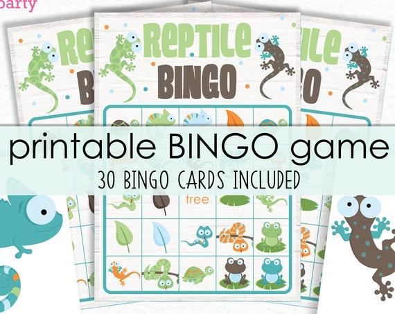 Reptile Party Bingo Printable Party Game - Reptile Birthday Party Game - Frogs and Lizards Bingo Game - Printable PDF - Instant Download