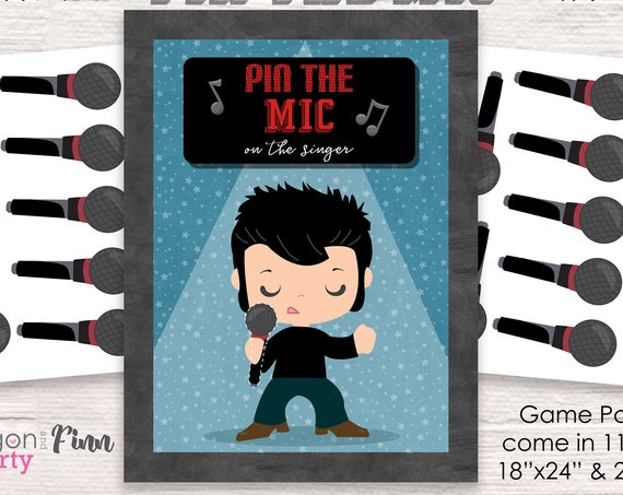 Pin the Mike on the Singer Printable Party Game - 3 Poster Sizes - Rock and Roll Birthday Party Game - Karaoke Party Game - Instant Download