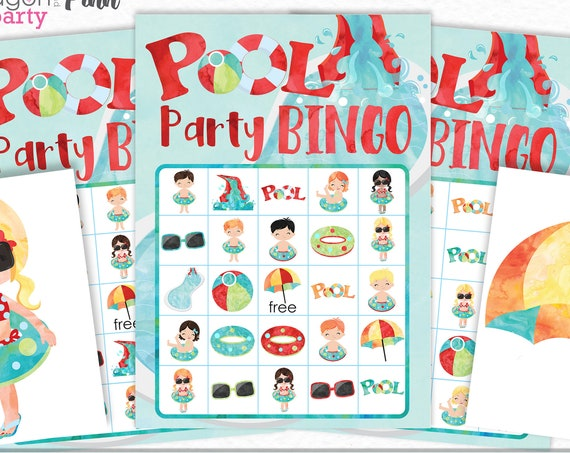 Pool Party Bingo Printable Game - Printable Pool Party Game - Summer Party Game - Summer Bingo Game - Instant Download