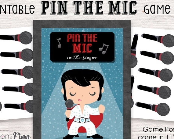 Pin the Mike on the Singer Printable Party Game - 3 Poster Sizes - Karaoke Birthday Party Game - Karaoke Party Game - Instant Download