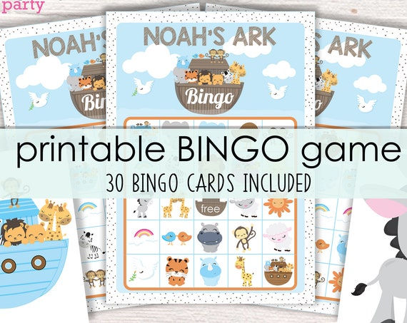 Noah's Ark Bingo Printable Game - Printable Ark Birthday Party Game - Ark Bingo Game - Animal Bingo - Religious Bingo - Instant Download