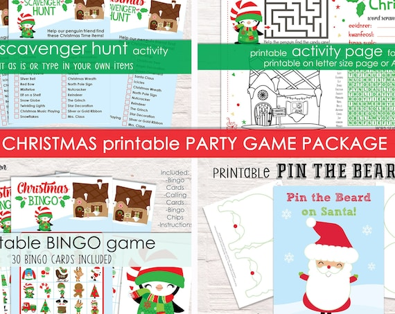 Printable Christmas Party Game Package - 4 Activities - Printable Party Games - Christmas Games - Christmas Activities - Instant Download