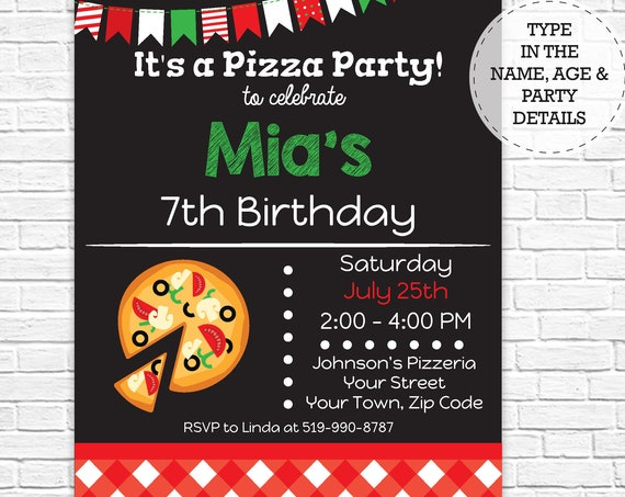 Pizza Birthday Party Invitation - Pizza Party Invitation - Pizza Invitation - Pizza Birthday- Download & Personalize at home in Adobe Reader