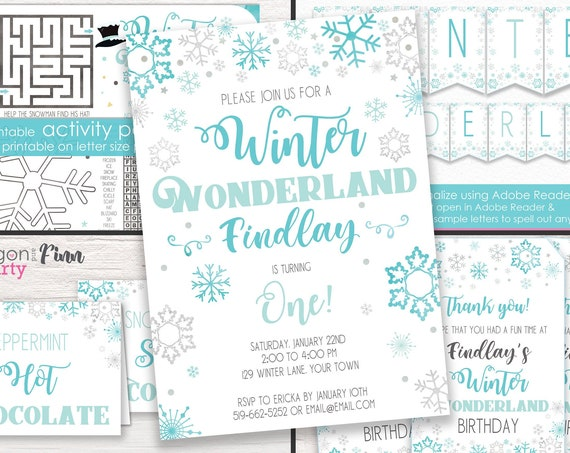 Winter Wonderland Invitation, Activities & Decorations kit - Boy Winter Wonderland Birthday - Download and Personalize in Adobe Reader