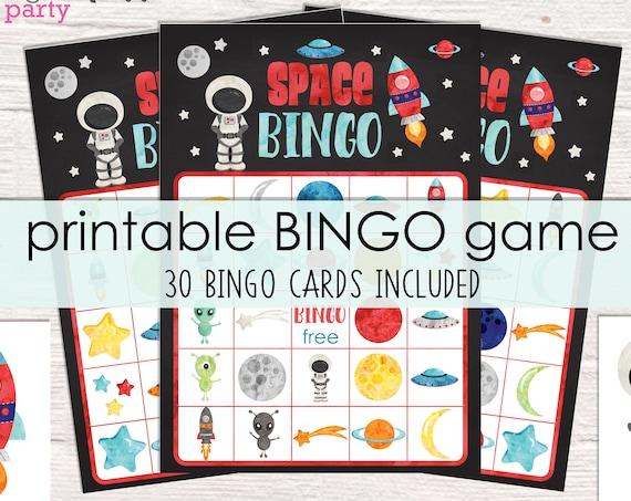 Space Bingo Printable Party Game - 30 Bingo Cards - Space Birthday Party Game - Space Party Game - Printable PDF - Instant Download