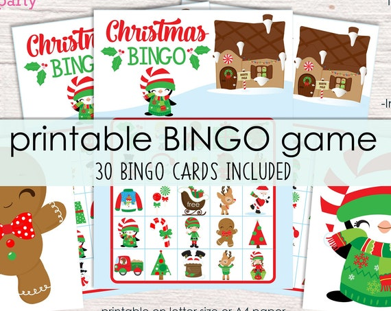 Christmas Bingo Printable Party Game - 30 Bingo Cards - Christmas Game - Christmas Activity - Christmas Party Game - Instant Download