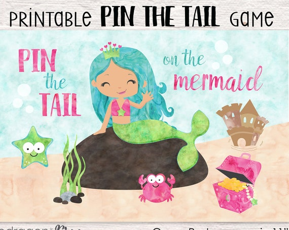 Pin the Tail on the Mermaid Printable Party Game - 3 Poster Sizes - Mermaid Birthday Party - Under the Sea Party Game - Instant Download