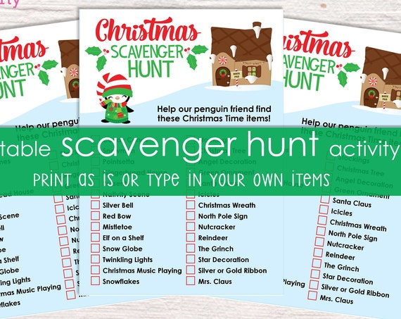 Christmas Scavenger Hunt Printable Activity - Christmas Party Game - Christmas Activity - Holiday Party Game - Christmas Game - Holiday Fun