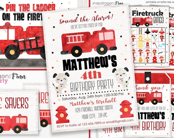 Firetruck Invitation, Games and Decorations kit - Firetruck Birthday- Printable Firefighter Birthday- Download & Personalize in Adobe Reader