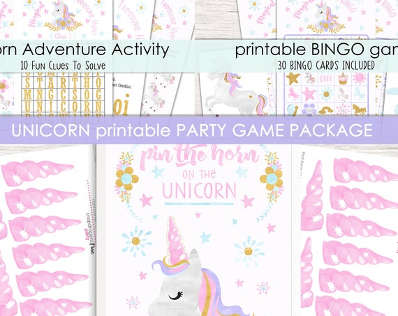 Unicorn Party Game Package - 3 Activities for your Unicorn Party - Printable Party Games - Unicorn Birthday Activities - Instant Download