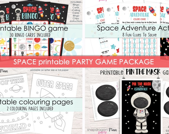 Space Party Game Package - 4 Activities for your Space Party - Printable Party Games - Space Birthday Party Activities - Instant Download