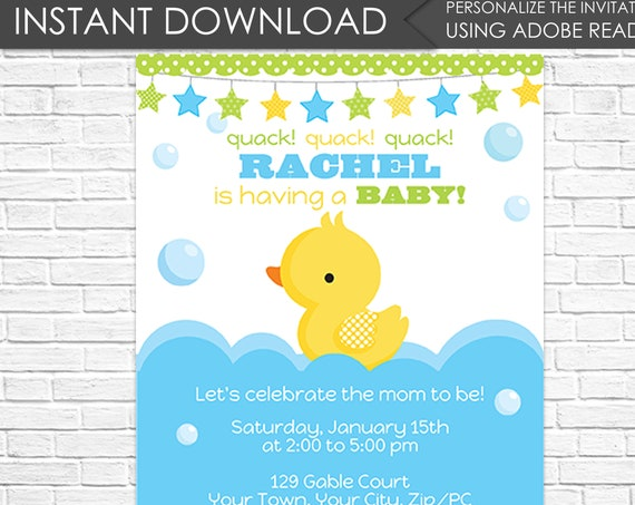 Boy Rubber Duck Baby Shower Invitation - Rubber Duck Invitation- Boy Baby Shower Invitation - Download & Personalize at home in Adobe Reader